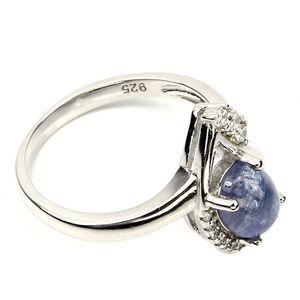 Blue Violet Tanzanite & Cz SOLID .925 SIZE 7